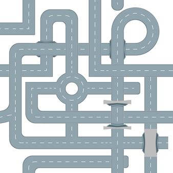 Motif de fond de carte routière. position vue de dessus. conception de l'autoroute. illustration