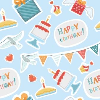 Motif de fond dessiné main transparente joyeux anniversaire