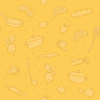 Motif de fond divers objets de cuisine. modèle. croquis doodle.