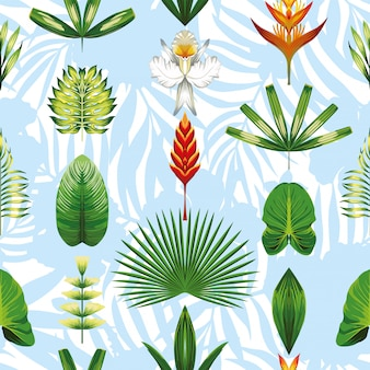 Motif de fond d'écran sympa fleurs tropicales et feuilles bleu clair