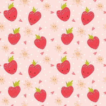 Motif / fond mignon de fraise et coeur