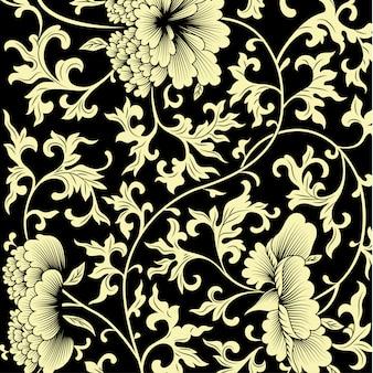 Motif sur fond noir avec des fleurs chinoises.