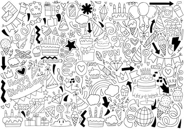Motif de fond des ornements du parti doodle joyeux anniversaire main