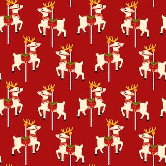 Motif de fond sans couture de carrousel de renne