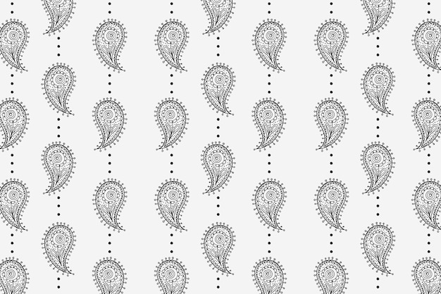 Motif de fond sans couture paisley, vecteur d'illustration noir et blanc