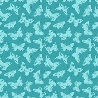 Motif de fond sans couture de silhouettes de papillons de dentelle