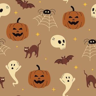 Motif de fond tendance sans couture halloween illustration vectorielle pour tissu et papier d'emballage cadeau