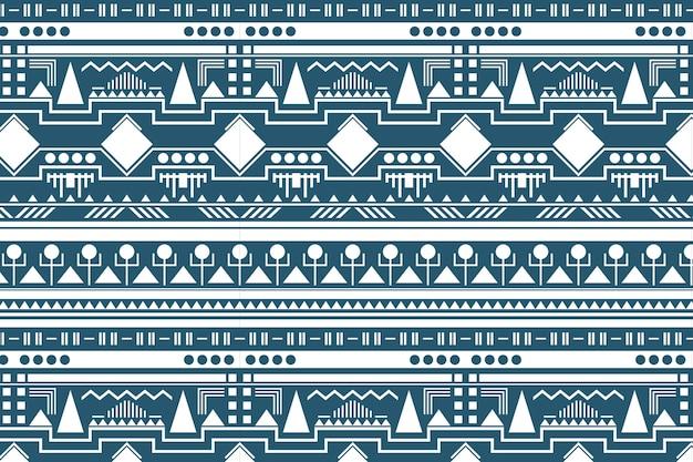 Motif de fond tribal, vecteur de conception de tissu blanc et bleu