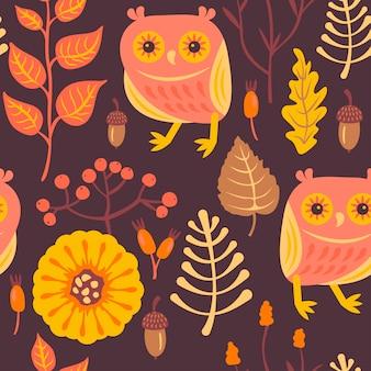 Motif de forêt avec des hiboux.