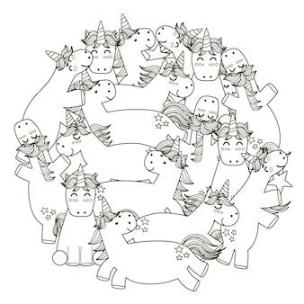 Motif de forme de cercle avec des licornes mignonnes.