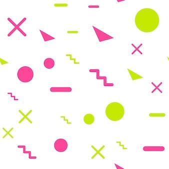 Motif de forme géométrique aléatoire, arrière-plan abstrait dans un style rétro des années 80 et 90. illustration géométrique colorée
