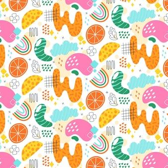Motif de formes abstraites colorées de style plat
