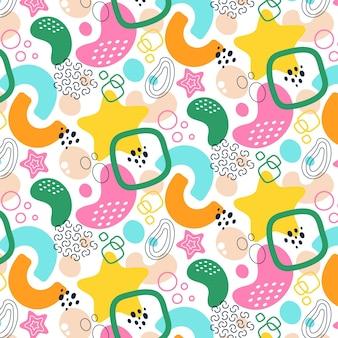 Motif de formes abstraites de style plat coloré