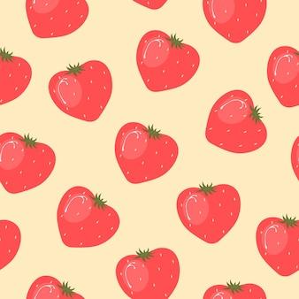 Motif fraise avec coeur dans un style plat tendance pour les textiles