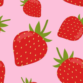 Motif de fraises coloré dessinés à la main