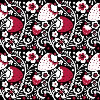 Motif de fraises d'hiver dans le style khokhloma