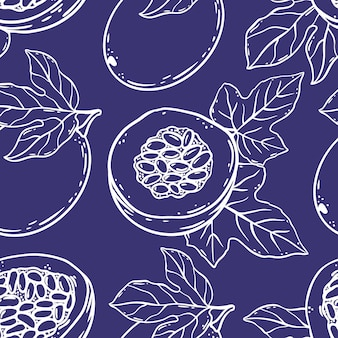 Motif de fruit de la passion délicieuse délicatesse entière et tranches pour la conception de la boutique de produits naturels biologiques et des boissons à dessert dans le style de croquis violet seamless vector