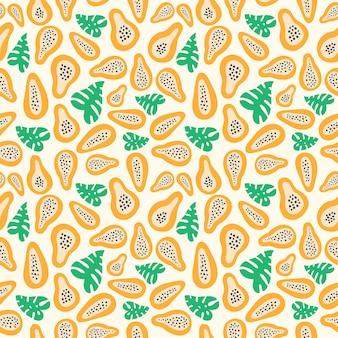Motif de fruits abstraits avec papaye. modèle tropical sans couture avec des feuilles de papaye et de palmier dans un style simple dessiné à la main. couleur vive en illustration vectorielle. ornement pour textile et emballage.