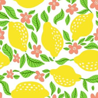 Motif de fruits au citron. motif d'agrumes d'été sans couture avec citrons, feuilles et fleur de fleur. imprimé abstrait tropical aux couleurs vives. illustration vectorielle. impression lumineuse vectorielle pour tissu ou papier peint.