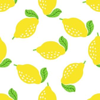 Motif de fruits au citron. motif d'agrumes d'été sans couture avec des citrons, des feuilles. imprimé abstrait tropical aux couleurs vives. illustration vectorielle. impression lumineuse vectorielle pour tissu ou papier peint.