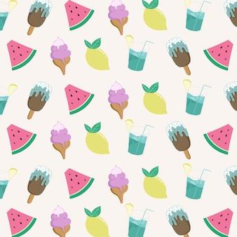 Motif de fruits et de boissons frais d'été