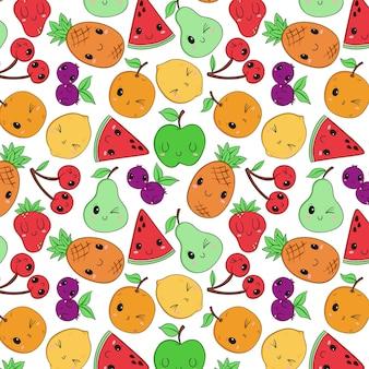 Motif de fruits dans le style de dessin à la main