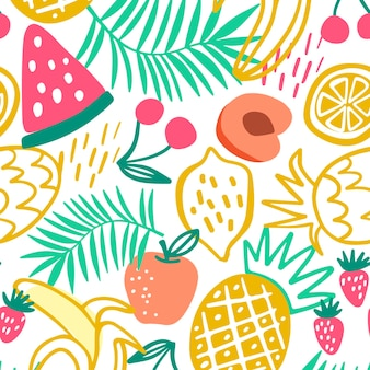 Motif de fruits dessinés colorés