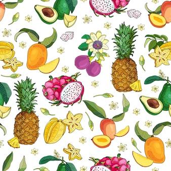Motif de fruits exotiques
