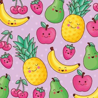 Motif de fruits kawaii