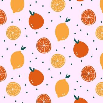 Motif de fruits orange dessinés à la main