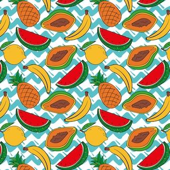Motif de fruits avec papaye et pastèque