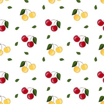 Motif de fruits sans couture de cerises rouges jaunes avec des feuilles sur fond blanc