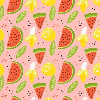 Motif de fruits avec des tranches de pastèque