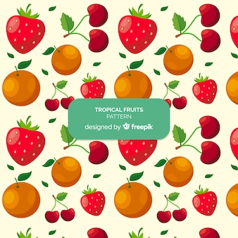 Motif de fruits tropicaux dessiné à la main