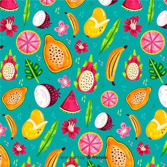 Motif de fruits tropicaux dessiné à la main