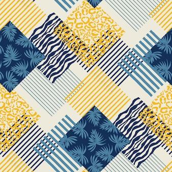 Motif géométrique abstrait avec des feuilles et des imprimés animaliers.