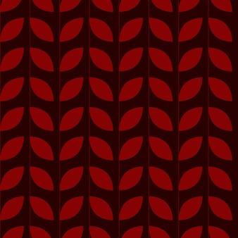 Motif géométrique abstrait sans couture avec des feuilles sur fond bordeaux foncé aux couleurs de l'automne