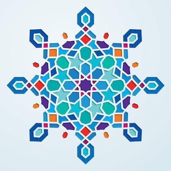 Motif géométrique arabe coloré rond orné