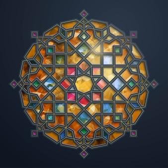 Motif géométrique arabe - ornement de cercle marocain