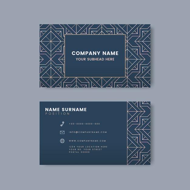 Motif géométrique blanc sur vecteur de carte de visite bleue