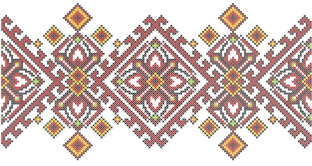 Motif géométrique de broderie au point de croix de style ethnique ukrainien.