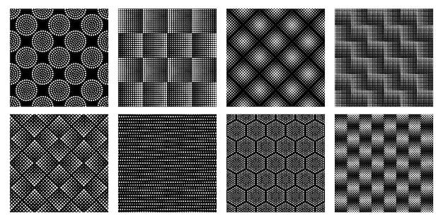 Motif géométrique en demi-teinte sans soudure. texture en pointillé, formes abstraites de cercle et ensemble de motifs élégants en noir et blanc