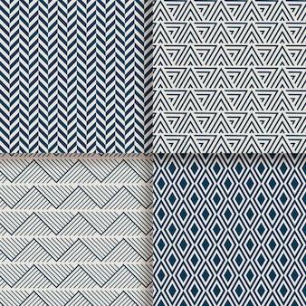 Motif géométrique minimal de lignes ondulées et brisées