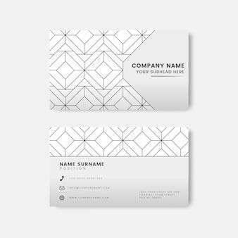 Motif géométrique noir sur vecteur de carte de visite blanc