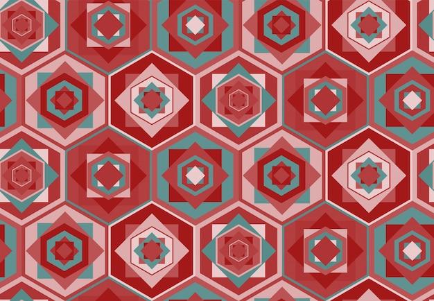 Motif géométrique rose avec hexagones et carrés
