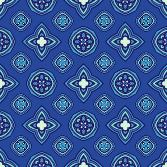 Le motif géométrique sans couture bleu se répète avec des étoiles et des cercles. peut être utilisé pour le papier peint, les arrière-plans, la décoration pour votre design, la céramique, le remplissage de page et plus encore.