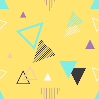 Motif géométrique sans couture à la mode, illustration vectorielle avec des figures géométriques. concevoir des arrière-plans pour l'invitation, la brochure et le modèle de promotion.