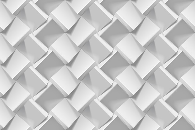 Motif géométrique sans soudure abstrait gris clair. cubes de papier blanc 3d réalistes. modèle