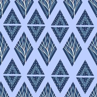 Motif géométrique avec triangles et losanges en bleu. .