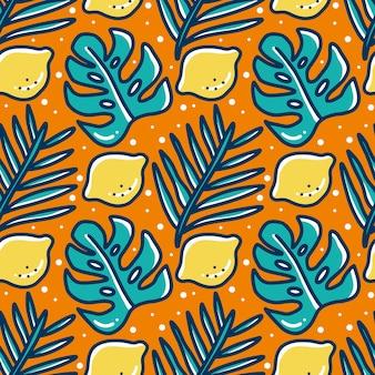 Motif de griffonnage d'algues dessinés à la main et de citron vert